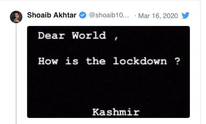 Shoaib Akhtar had taken a dig at India using Kashmir