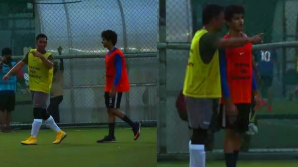 Pics: MS Dhoni plays football with the Dhadak star Ishaan Khatter in Mumbai