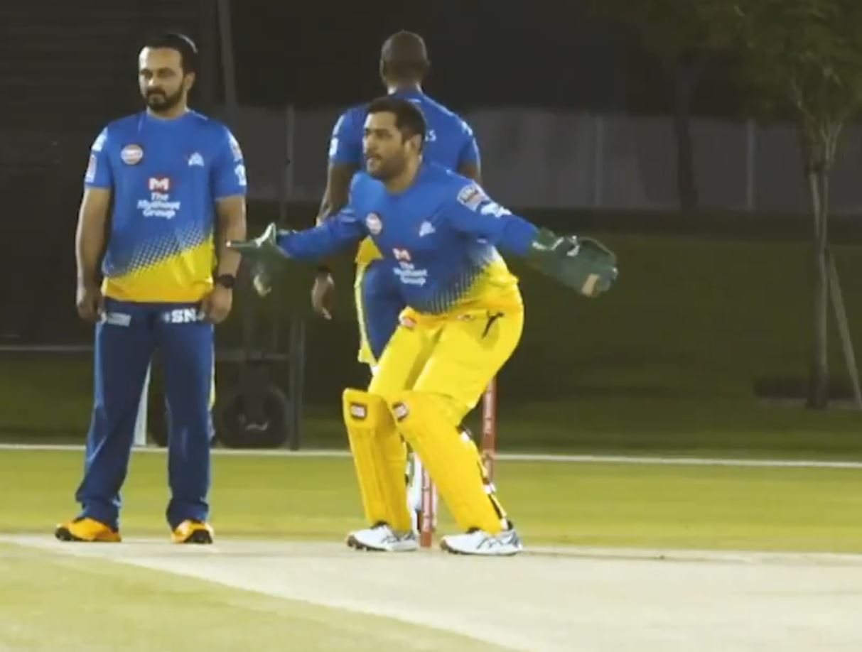 MS Dhoni during his keeping practice | CSK Twitter