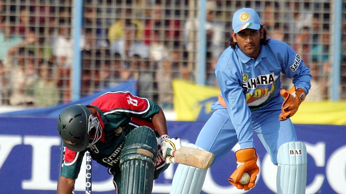 MS Dhoni on his ODI debut against Bangladesh in 2004