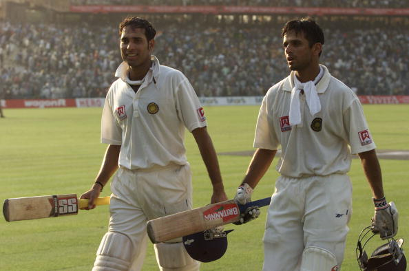 Laxman and Dravid leave the field after batting the entire day against Australia at the Eden Gardens in 2001 | Getty