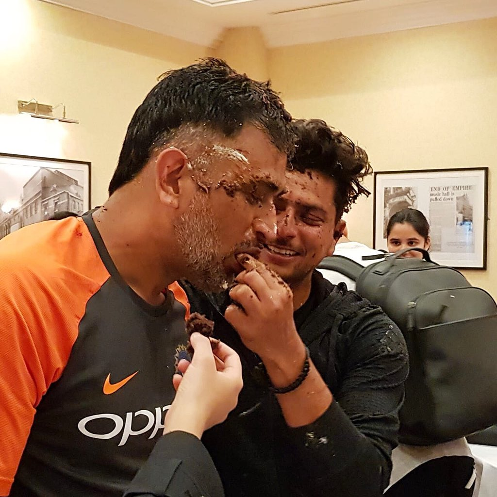 Kuldeep Yadav with MS Dhoni during the birthday celebration | Twitter
