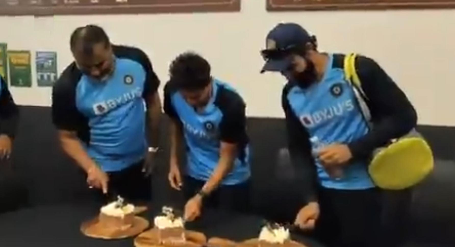B Arun, Kuldeep Yadav and Ravindra Jadeja cut their birthday cakes   BCCI Twitter