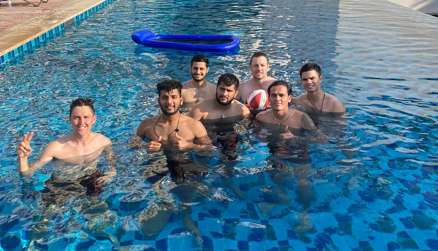 Arjun Tendulkar in the pool with MI players | Rahul Chahar Twitter
