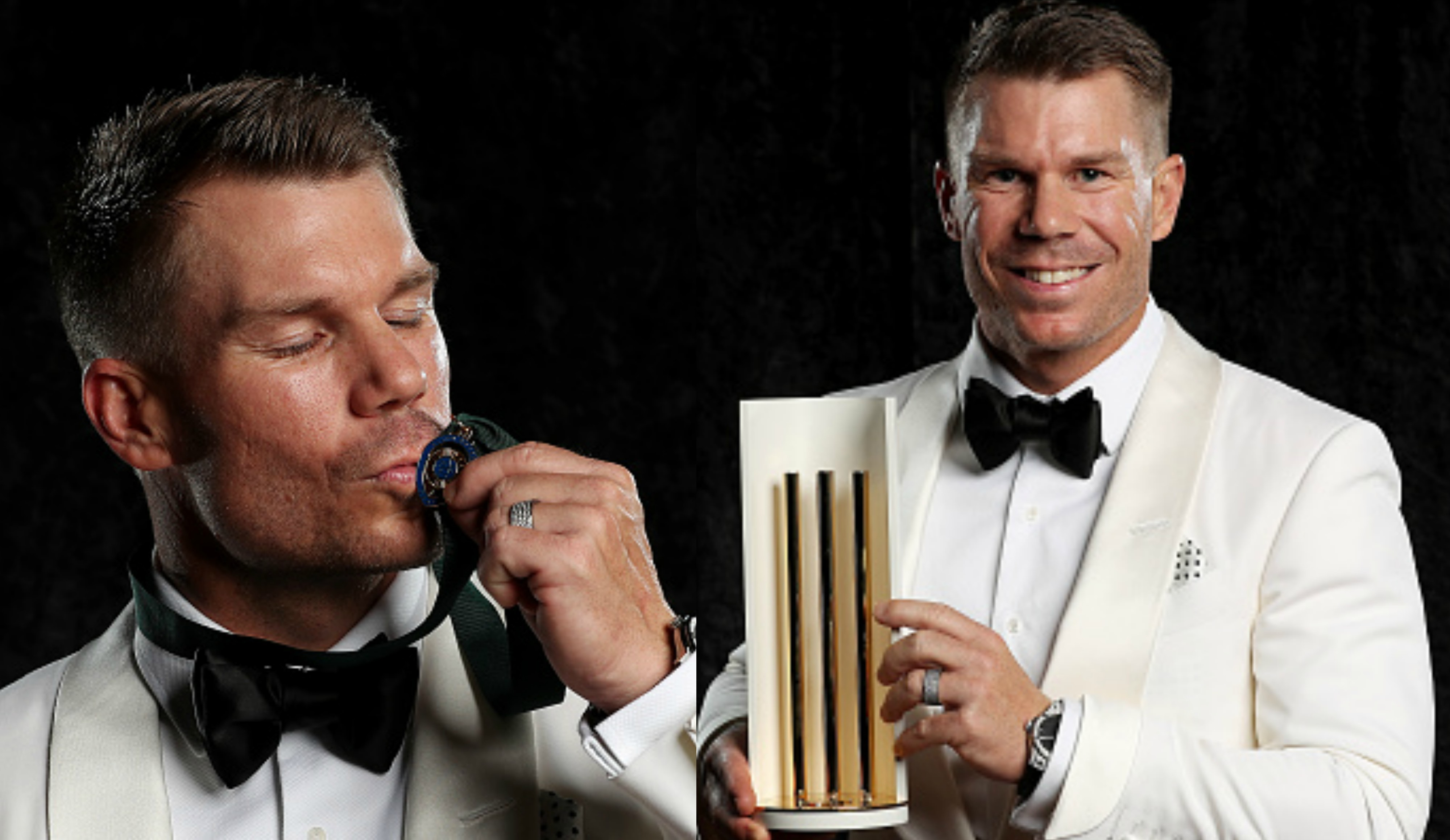 Warner with the Allan Border Medal and Men's T20I Player of the Year award | Getty Images