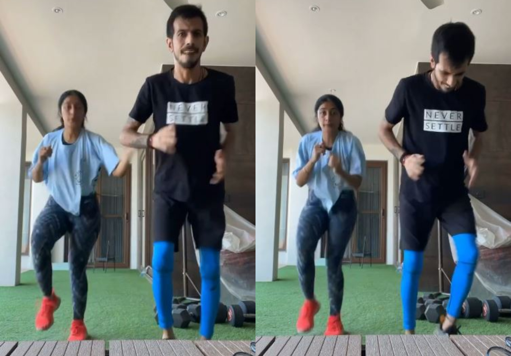 Chahal and Dhanashree were seen doing workout at their residence | Instagram
