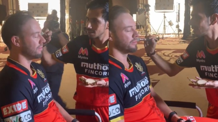 IPL 2020: WATCH - Yuzvendra Chahal touches up AB de Villiers' make-up