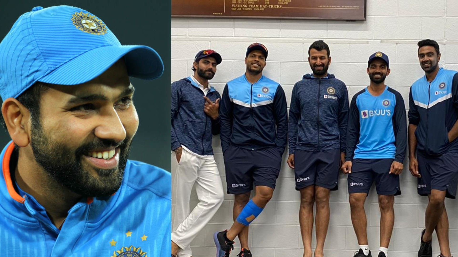 AUS v IND 2020-21: Ashwin and Rohit banter over Pujara's 'attention' pose in group photo