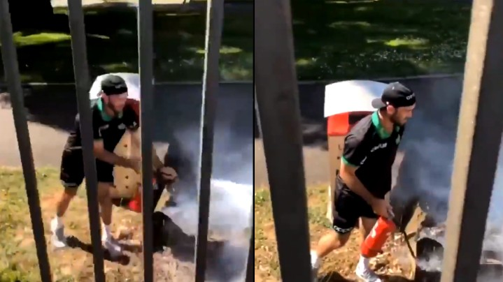 WATCH- Glenn Maxwell rushes with a fire extinguisher to get rid of bush-fire