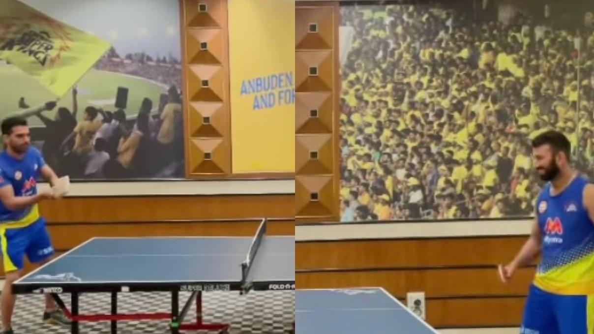 IPL 2021: WATCH- CSK's Deepak Chahar and Cheteshwar Pujara battle in a game of table tennis