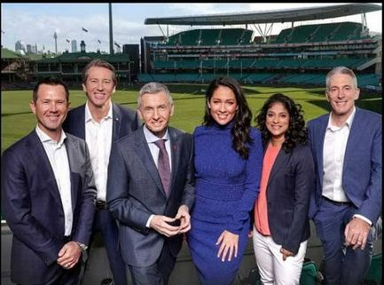 Ricky Ponting and Glenn McGrath with the commentary team