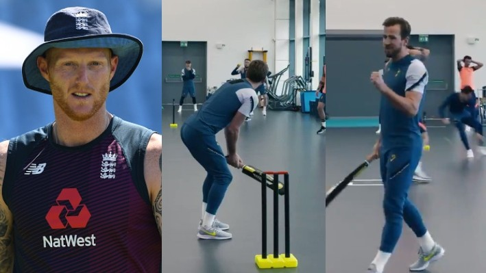 Ben Stokes reacts to football star Harry Kane's clean hitting during indoor cricket match