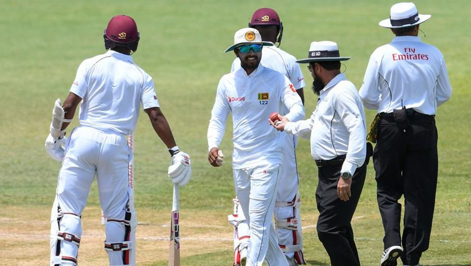 Dinesh Chandimal in conversation with umpires during the St. Lucia Test | Getty