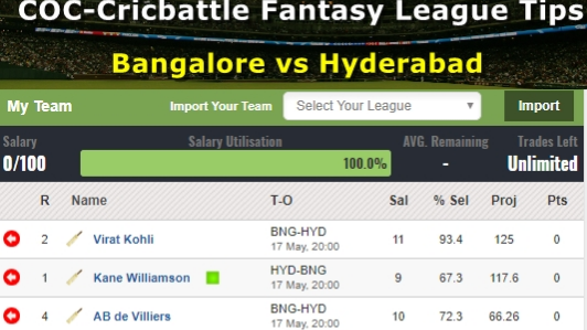 Fantasy Tips - Bangalore vs Hyderabad on May 17