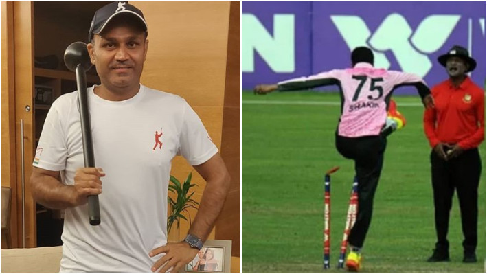 Virender Sehwag reacts to Shakib Al Hasan angrily kicking stumps with a hilarious picture