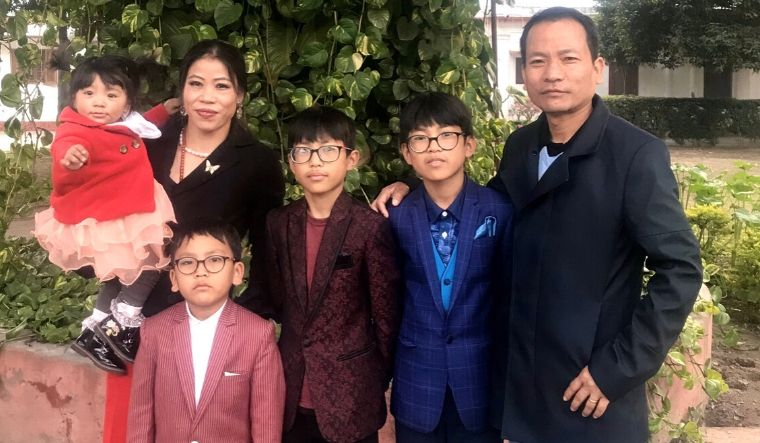 Mary Kom with husband Karung Onkholer and their children
