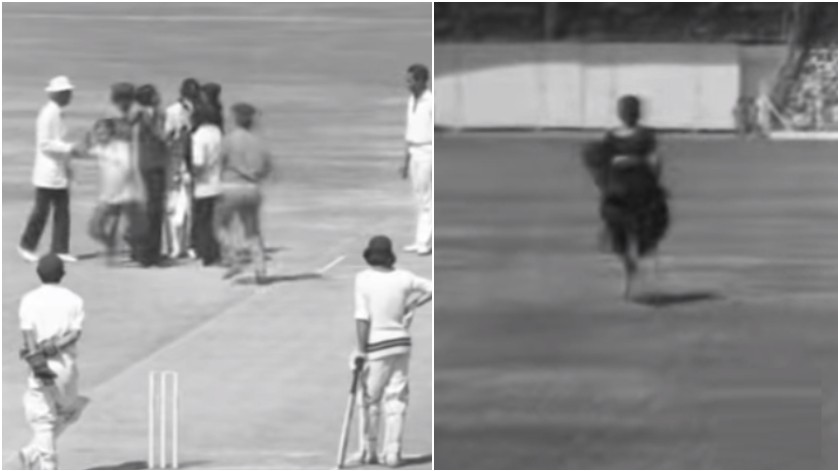 WATCH - Video of a Lady in saree running onto ground to kiss the Indian cricketer in 1975 goes viral