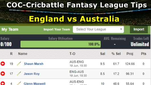 Fantasy Tips - England vs Australia on June 19