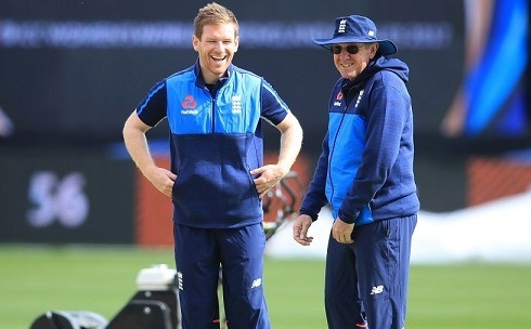 Eoin Morgan with Coach Trevor Bayliss | PA