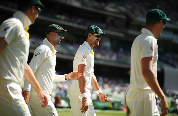 Mitchell Starc, Josh Hazlewood, Nathan Lyon and Pat Cummins walk out onto the field at the SCG | Getty Images