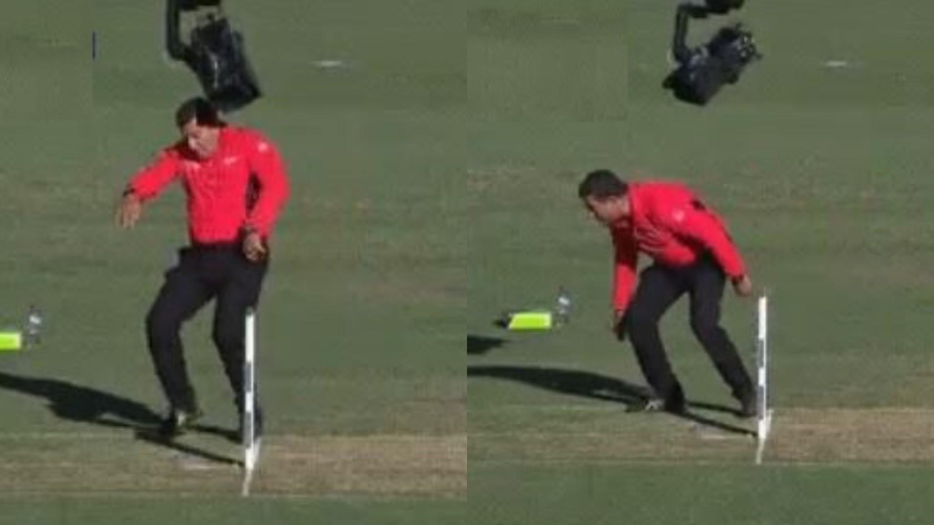 AUS v IND 2020-21: Twitterverse have a field day after Aussie umpire crashes into spider-cam