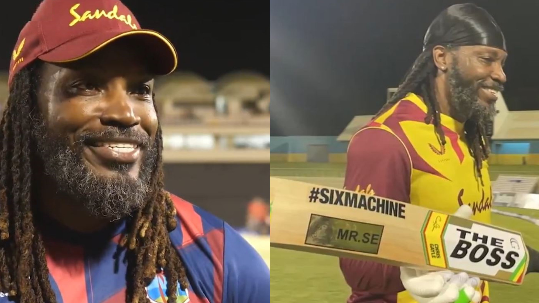 WI v AUS 2021: WATCH- 'The Boss' Chris Gayle jokingly says ICC doesn't want him using Universe Boss on his bat