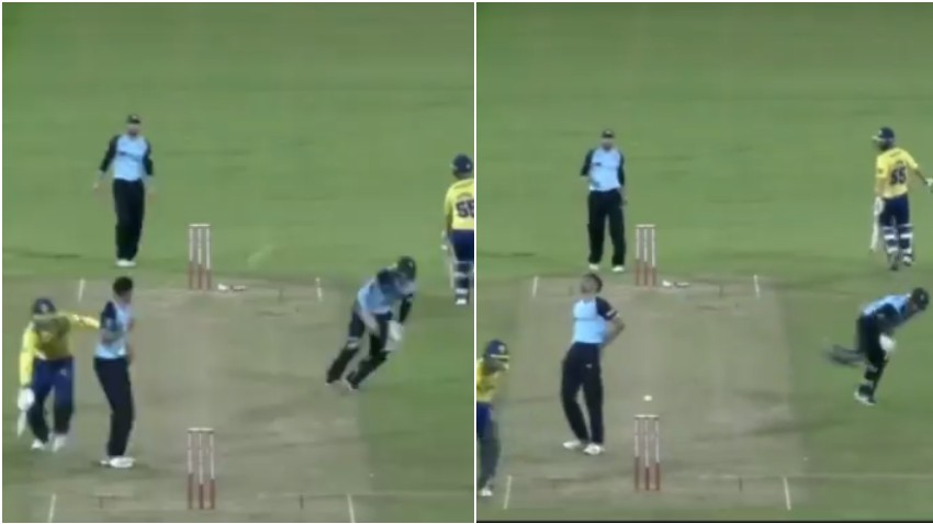 WATCH: Yorkshire wicket-keeper funnily hits teammate Keshav Maharaj in a run-out attempt