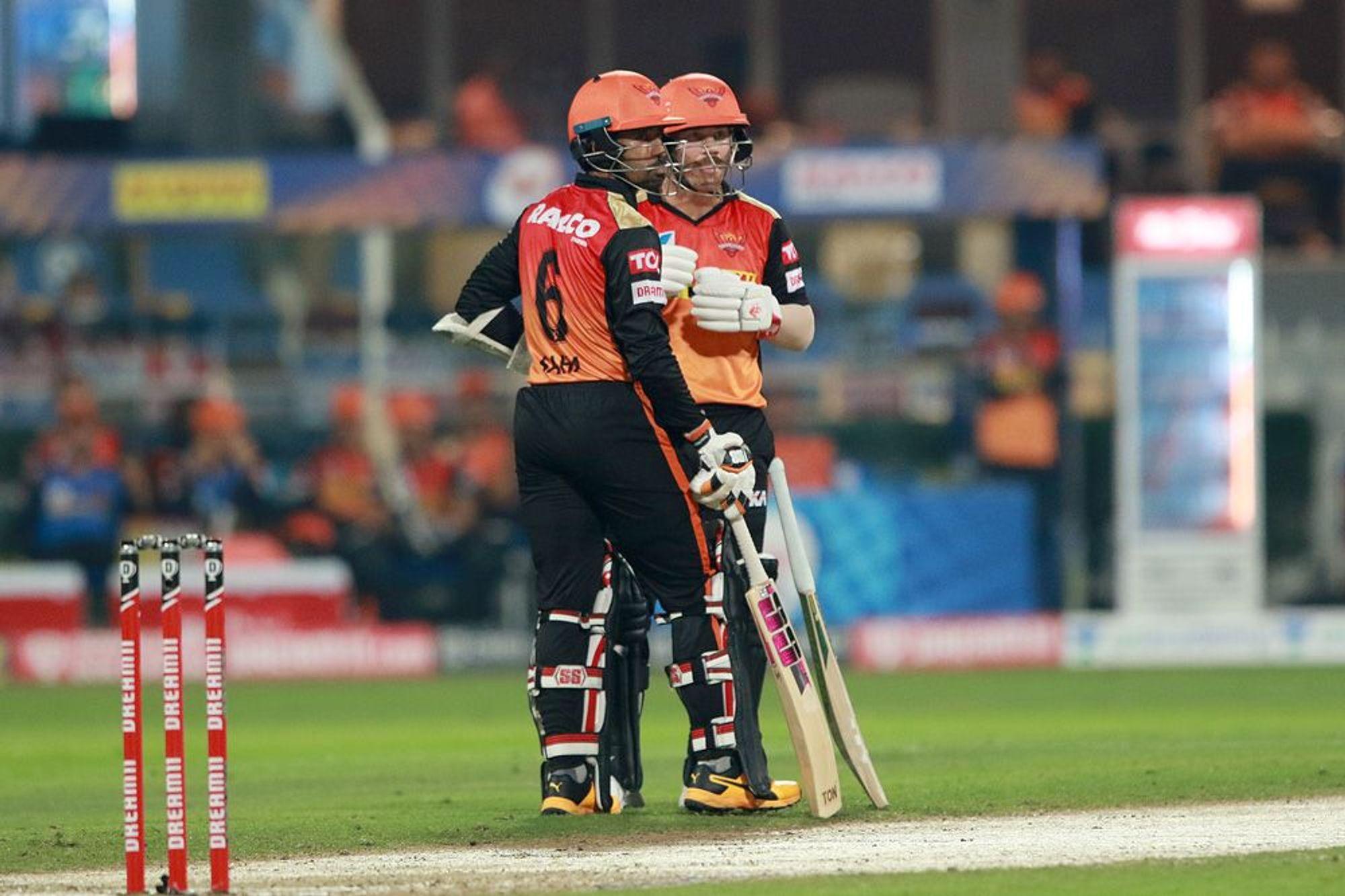 David Warner and Wriddhiman Saha scored fifties against MI in Sharjah. (Photo - BCCI / IPL)