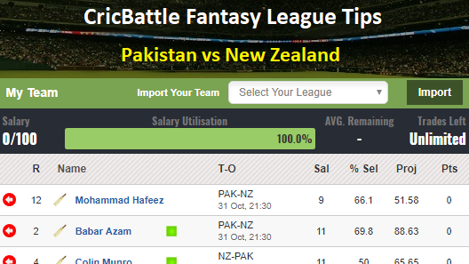 Fantasy Tips - Pakistan vs New Zealand on October 31