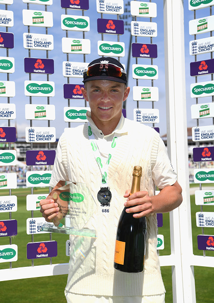 Sam Curran with his Man of the match trophy in England's 1,000th Test match | Getty