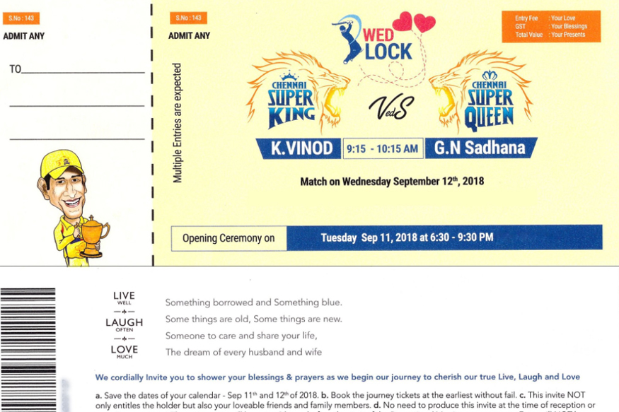 CSK Fan K. Vinod's wedding card in form of CSK match ticket