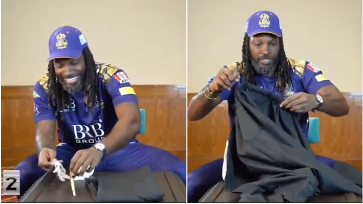 PSL 2021: WATCH - Chris Gayle takes the shalwar challenge; gets surprised by the waist size