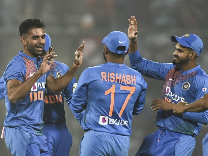 Deepak Chahar picked up 6 wickets for just 7 runs in the third T20I against Bangladesh. (photo - AFP)