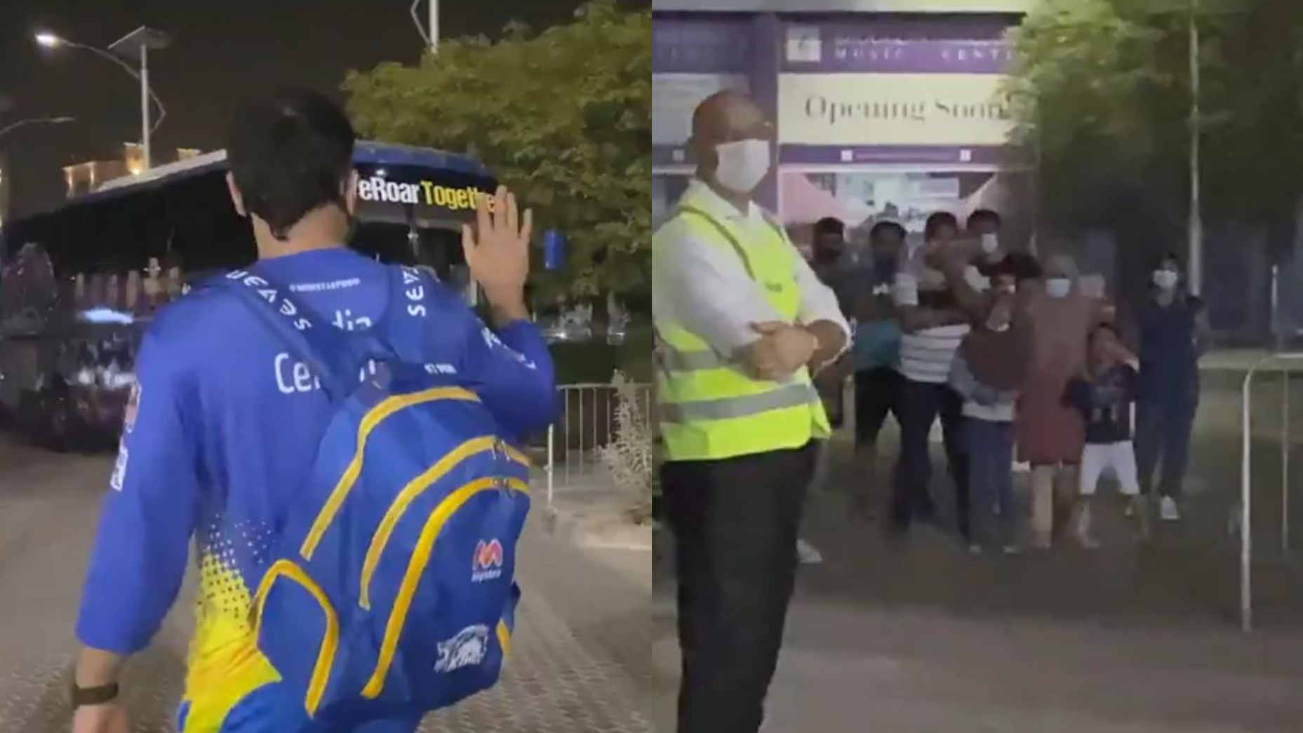 IPL 2021: WATCH- MS Dhoni waves to his fans in Dubai as they cheer for him