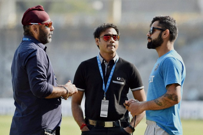 MSK Prasad along with fellow selector Sarandeep Singh and captain Virat Kohli