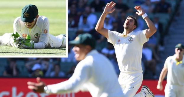 Starc reacts as Tim Paine drops a hard chance of Virat Kohli