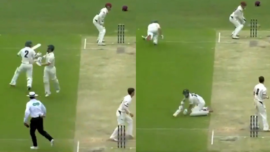 WATCH: Nasty and funny miscommunication between Tasmania batsman led to a run-out