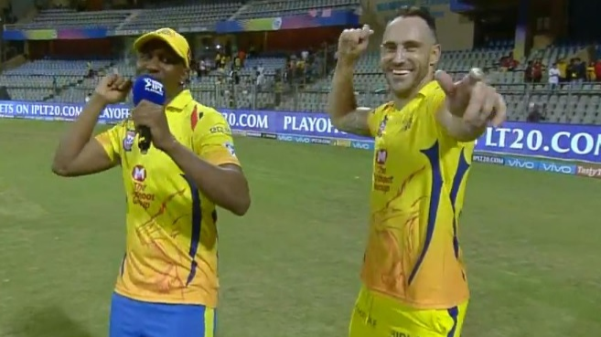 WATCH: CSK's hero Faf du Plessis has a chat with teammate Dwayne Bravo