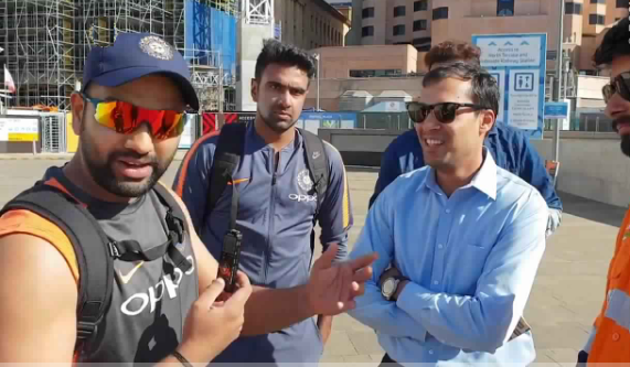 Rohit Sharma and R Ashwin with fans | Screengrab/BCCI