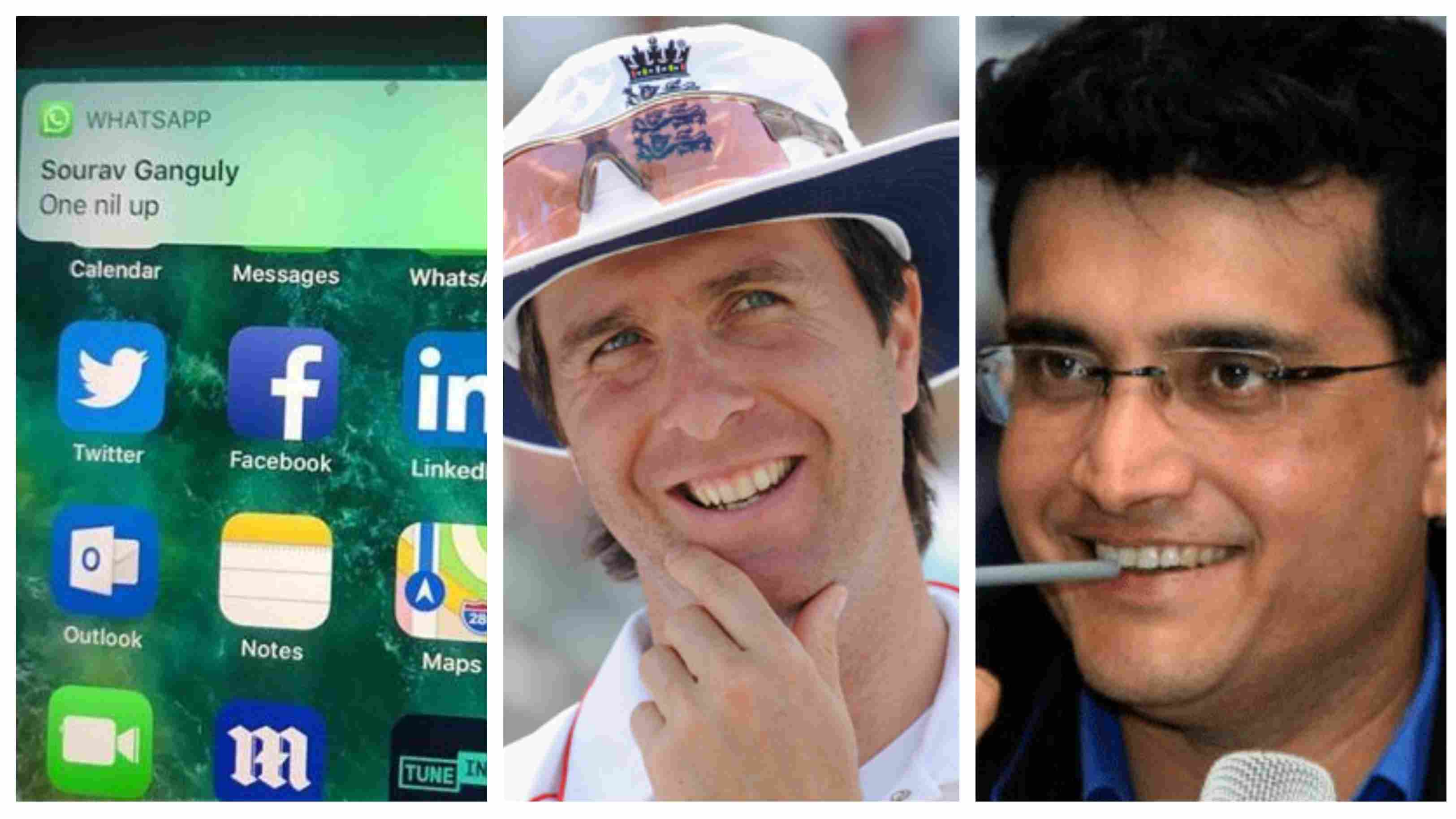 Michael Vaughan shares the screenshot of WhatsApp exchange with Sourav Ganguly