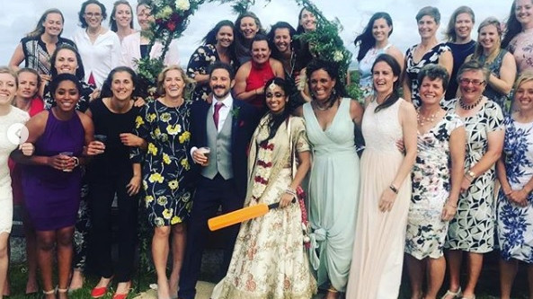 Danielle Wyatt attends Isa Guha's wedding along with her English teammates
