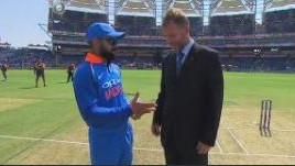 IND v WI 2018: WATCH – Virat Kohli congratulates England's Chris Broad for his 300th as match referee