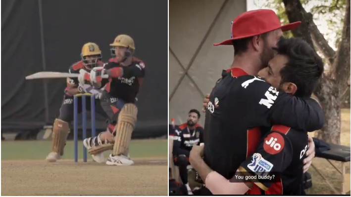IPL 2021: WATCH - Maxwell plays unorthodox shots off Chahal in his first practice session with RCB