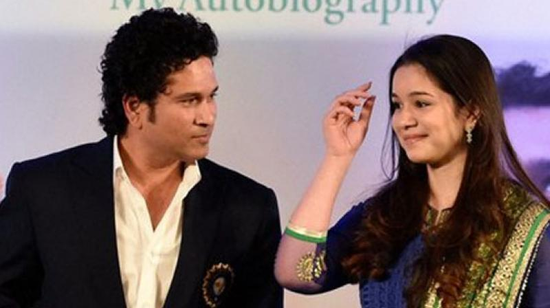 Sachin tendulkar with his daughter. (AP)