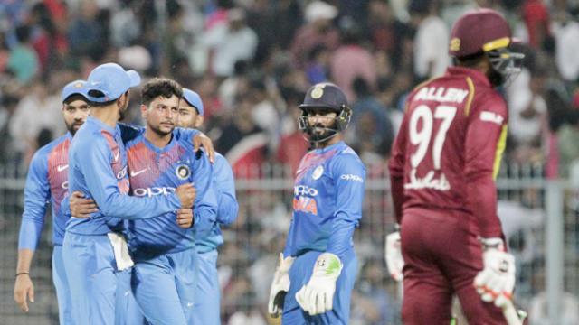 Kuldeep enjoyed his time, again, against the West Indies batsmen | AFP
