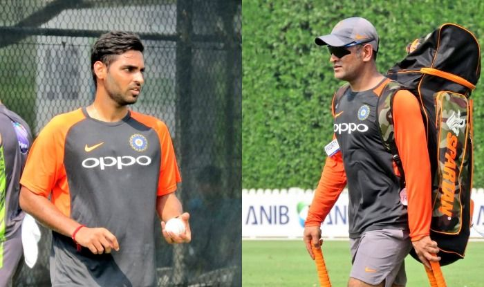 Bhuvneshwar Kumar and MS Dhoni at the nets in Dubai | BCCI Twitter