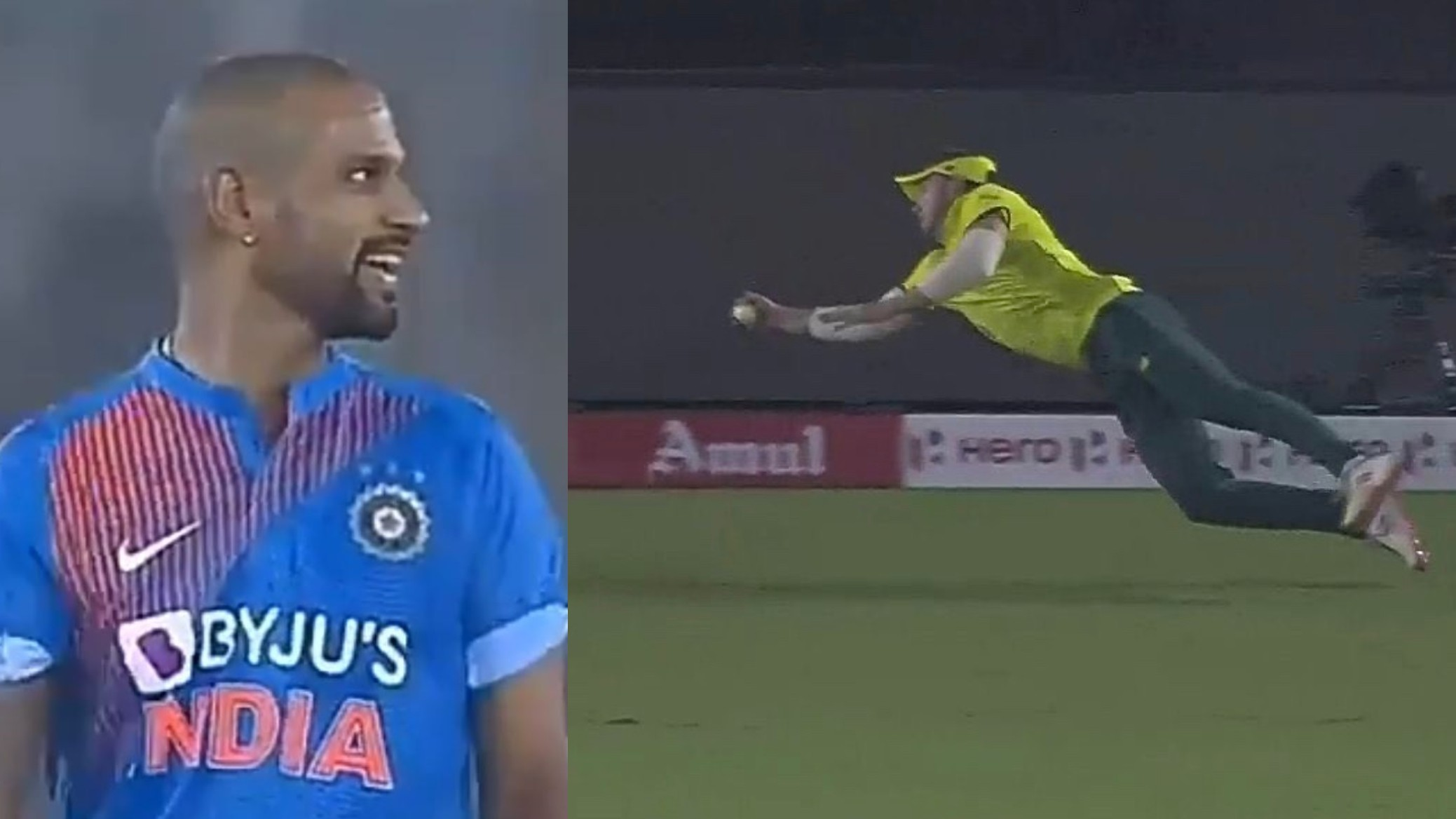 IND v SA 2019: WATCH- Shikhar Dhawan left amazed after David Miller's flying catch sends him packing
