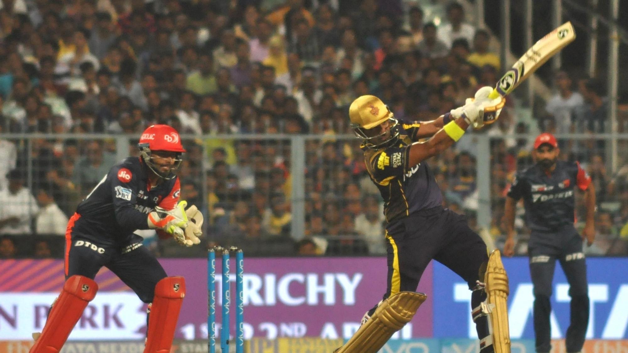 IPL 2018: KKRvDD- राणा और रसेल की तूफानी पारियों की बदौलत केकेआर ने खड़ा किया विशाल लक्ष्य