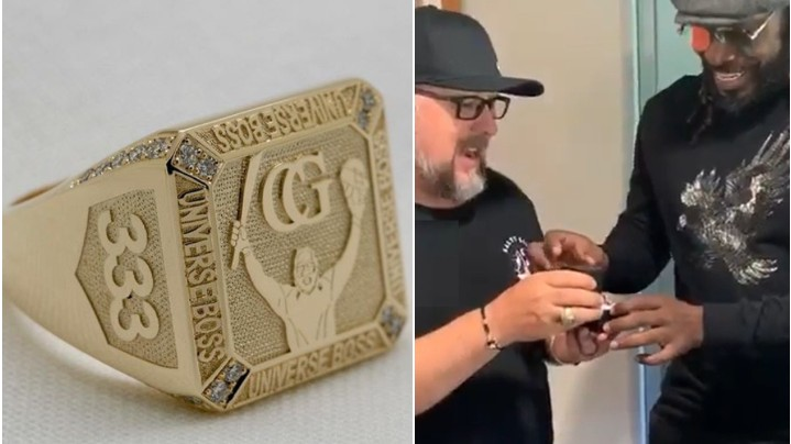 WATCH - Chris Gayle collects his specially designed 'Universe Boss' limited edition ring
