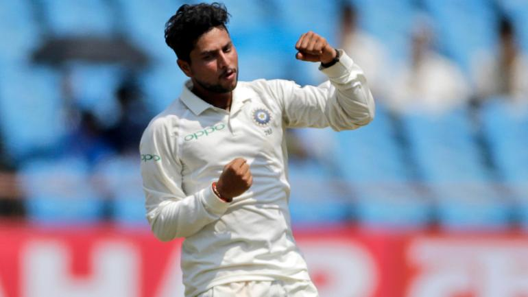 Kuldeep Yadav claimed his maiden five-wicket haul in Test cricket at Rajkot | AP